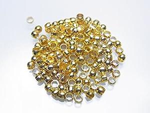 【金具】つぶし玉 かしめ玉 2ミリ ゴールド 約100個
