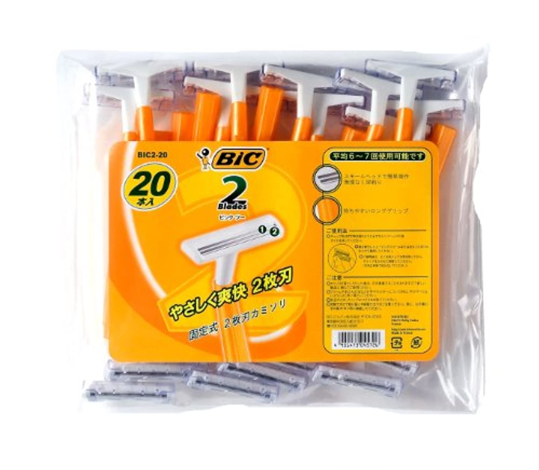 メッセージ枯渇するこのBIC2 2枚刃 カミソリ 20本入り