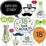 Big Dot of Happiness 18歳の誕生日 陽気なハッピーバースデー カラフルな8歳の誕生日パーティー写真ブース小道具キット 20個