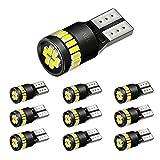 AUXITO T10 LED ホワイト 爆光 10個 ポジションランプ led キャンセラー内蔵 2W 24個3014LED素子 30000時間寿命 12V LED 白 ルームランプ ナンバー灯 1年保証