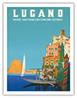 ルガーノ - 南スイス - ルガーノ湖 - ビンテージな世界旅行のポスター によって作成された レオポルド・メトリコヴィッツ c.1958 - アートポスター - 51cm x 66cm