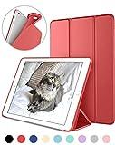 DTTO iPad Mini4 ケース 超薄型 超軽量 TPU ソフト PUレザー スマートカバー 三つ折り スタンド スマートキーボード対応 キズ防止 指紋防止 [オート スリープ/スリー プ解除] アップルレッド