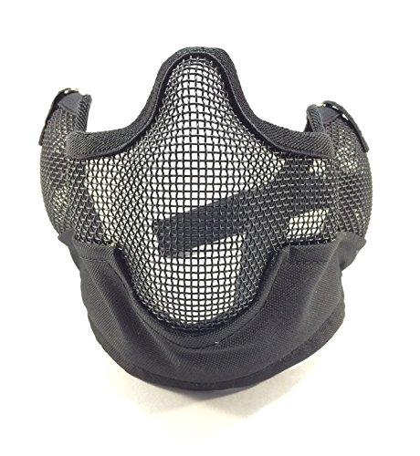 スチール 製 ハーフ メッシュ マスク & タクティカル ゴーグル セット ブラック CP迷彩 ACU 迷彩 グリーン サバゲー サバイバル ゲーム (ブラック)