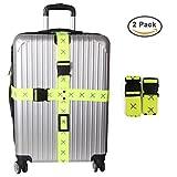 Zenoplige 十字型ベルト オリジナルワンタッチ式スーツケースベルト ロック搭載ベルト 十字形 荷物梱包バンド しっかりスーツケースを固まる 旅行 出張用 2個セット (グーリン)
