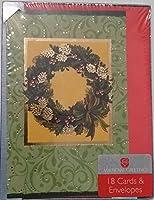 クリスマスホリデーカードAmerican Greetings冬Wreath with Shinyゴールドアクセントのボックス18Cards with Envelopes