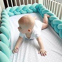 Domybest ベビーベッドガード 赤ちゃんサイドガード ソファークッション ノットクッション結び目 抱き枕 ベッドフェンス ロング 柔らかい 部屋飾り 撮影小物 出産祝い ブルー