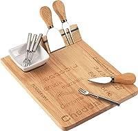 木製チーズセットwithステンレススチールキッチン用品とセラミックボウルと磁気ホルダー