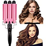 Ausale Curling Iron 3 Barrel Hair Waver Stylish Fast Heating Hair Curlers Temperature Adjustable Ceramic Beach Waver Hair Curlers New Hair Styling Tools (Pink) (32mm)