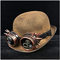 CHENDX High Quality Hat, Fedora Billycock Groom Jazz Hat Women Men Steampunk Bowler Hat Glasses Topper Top Hats Fashion (Color : Gold JD, Size : 57-58cm)
