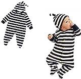 黒白縞 足を包み 蹴り防止 2点セット(ロンパース+帽子) 男女兼用 ベビー服 女の子 赤ちゃん服 幼児 子供服 男の子 長袖 フード付き 4サイズ キッズ服  カバーオール ロンパース満月/出産祝い/プレゼント70CM-80CM-90CM-100CM(0ヶ月-24ヶ月) (80CM/6-12ヶ月, 写真のように)