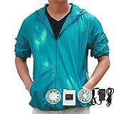 M2C 空調服 空調服神服 長袖スタッフジャンパー フード付 メンズワークブルゾン ポリエステル 薄手(ブルー、L) (¥ 9,900)