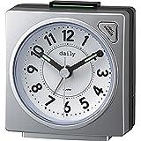 リズム時計 目覚まし時計 アナログ 小さい かわいい デイリーRA27 連続秒針 ライト 付き カラフル 時計 銀色 DAILY (デイリー) 8REA27DN19