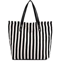 Women's Striped Canvas Shoulder Bags Top Handle Beach Handbag