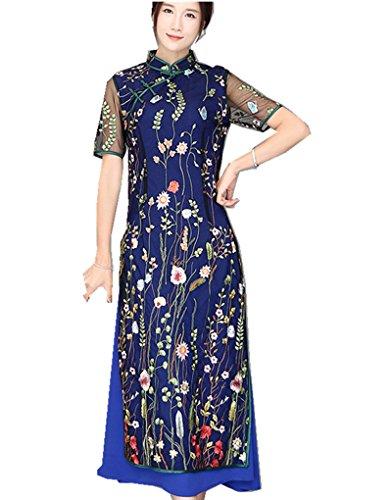 (上海物語) Shanghai Story ベトナム ドレス 民族 衣装 アオザイ 半袖 レース チャイナドレス レディース 民族衣装 チャイナ服 女性ドレス ロング丈