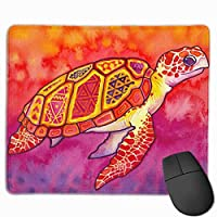 Cheng xiao Mouse Pad Cute Sea Turtles Painting Rectangle Rubber Mousepad Non-toxic Print Gaming Mouse Pad with Black Lock Edge,9.8 * 11.8 in,ベーシック マウスパッド ゲーム用 標準サイズ