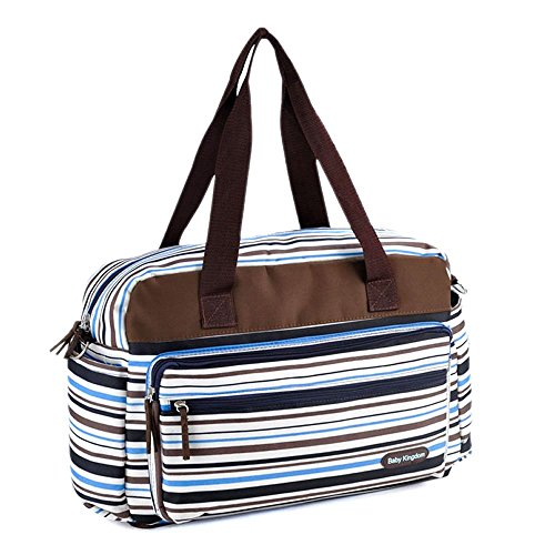 【Grandir】 マザーズバッグ トートバッグ マルチボーダー 2way 軽量 全3色 (ブルー)