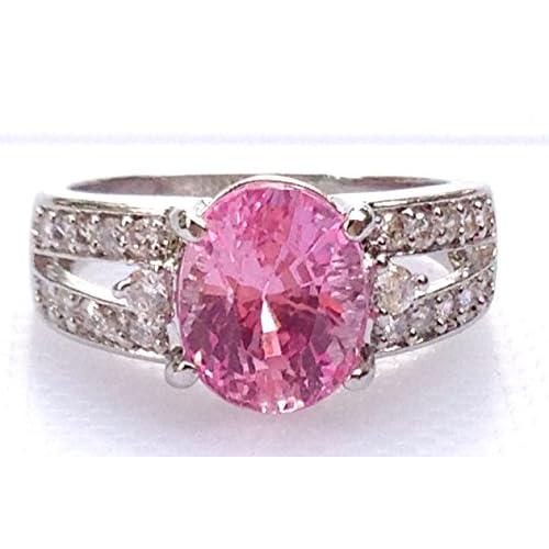【海外製】 ASREY 大粒 5.0ct. ピンクサファイア 指輪リング 誕生石 9月 シンセティック シルバー