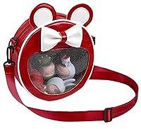 ショルダーバッグ 耳付き リボン 円形 痛バッグ 透明 ビニール バッグ 見せバッグ デコ 痛バ ガールズ (レッド)