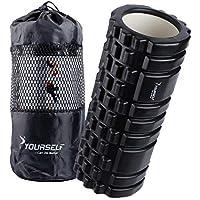 Syourself マッサージフォームローラー&Foam Roller-高弾力のEVAエコ素材、ストリガーポイント、グリッド、14cm×33cm、筋膜リリース、深部までマッサージ、物理療法、ヨガポール-フィットネス/エクササイズ/ダイエット/ヨガ/ピラティス/に最適、腰痛/肩コリ/筋肉痛を改善+専用ポーチ、説明書付