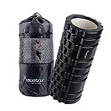 Syourself マッサージフォームローラー&Foam Roller-高弾力のEVAエコ素材、ストリガーポイント、グリッド、14cm×33cm、筋膜リリース、深部までマッサージ、物理療法、ヨガポール-フィットネス/エクササイズ/ダイエット/ヨガ/ピラティス/に最適、腰痛/肩コリ/筋肉痛を改善+専用ポーチ、説明書付 (ブラック)