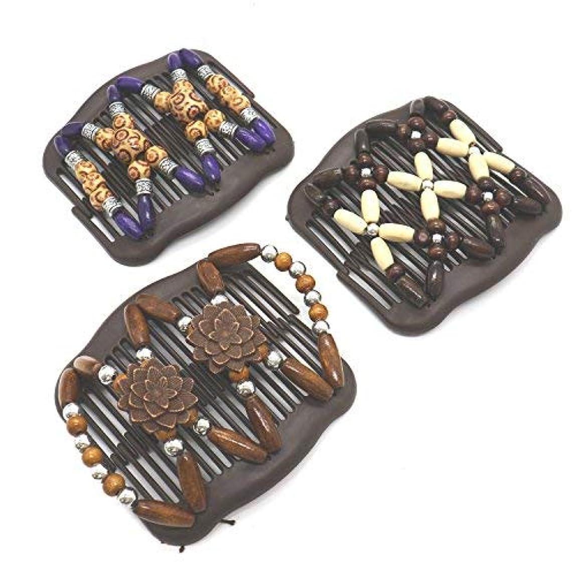 皮国民発症Buorsa 3Pcs Magic Combs Wood Beaded Stretch Double Side Combs Clips Bun Maker Hair Accessories for Wowen Girls...