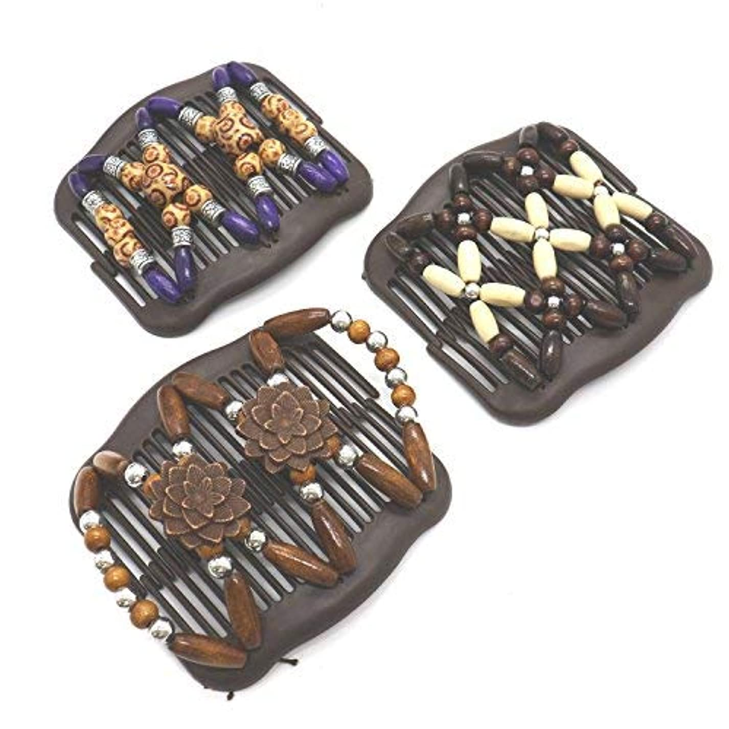 自分自身適度に電池Buorsa 3Pcs Magic Combs Wood Beaded Stretch Double Side Combs Clips Bun Maker Hair Accessories for Wowen Girls...