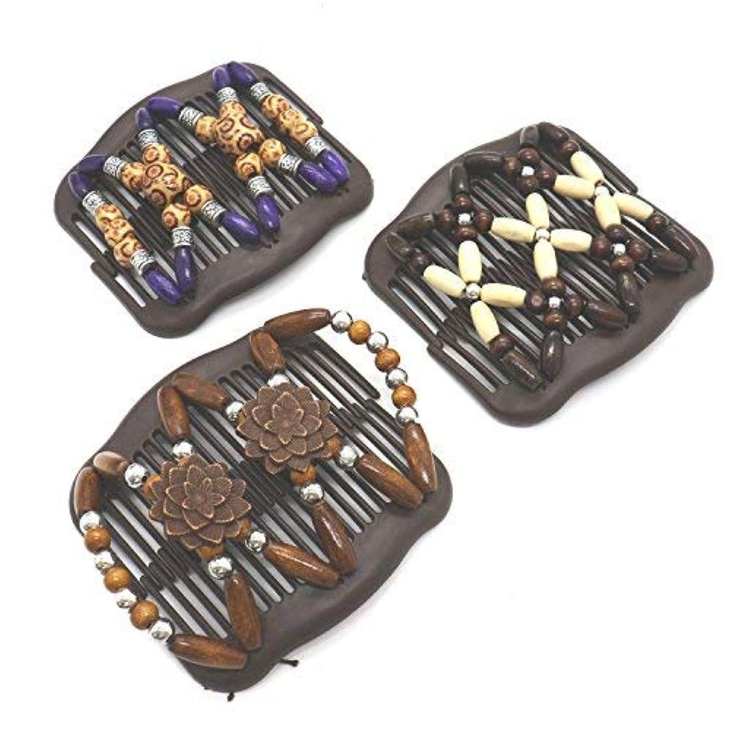 ピアニスト旧正月憎しみBuorsa 3Pcs Magic Combs Wood Beaded Stretch Double Side Combs Clips Bun Maker Hair Accessories for Wowen Girls...