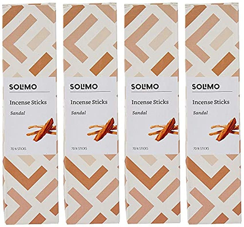 においスプーン変更可能Amazon Brand - Solimo Incense Sticks, Sandal - 70 sticks/pack (Pack of 4)