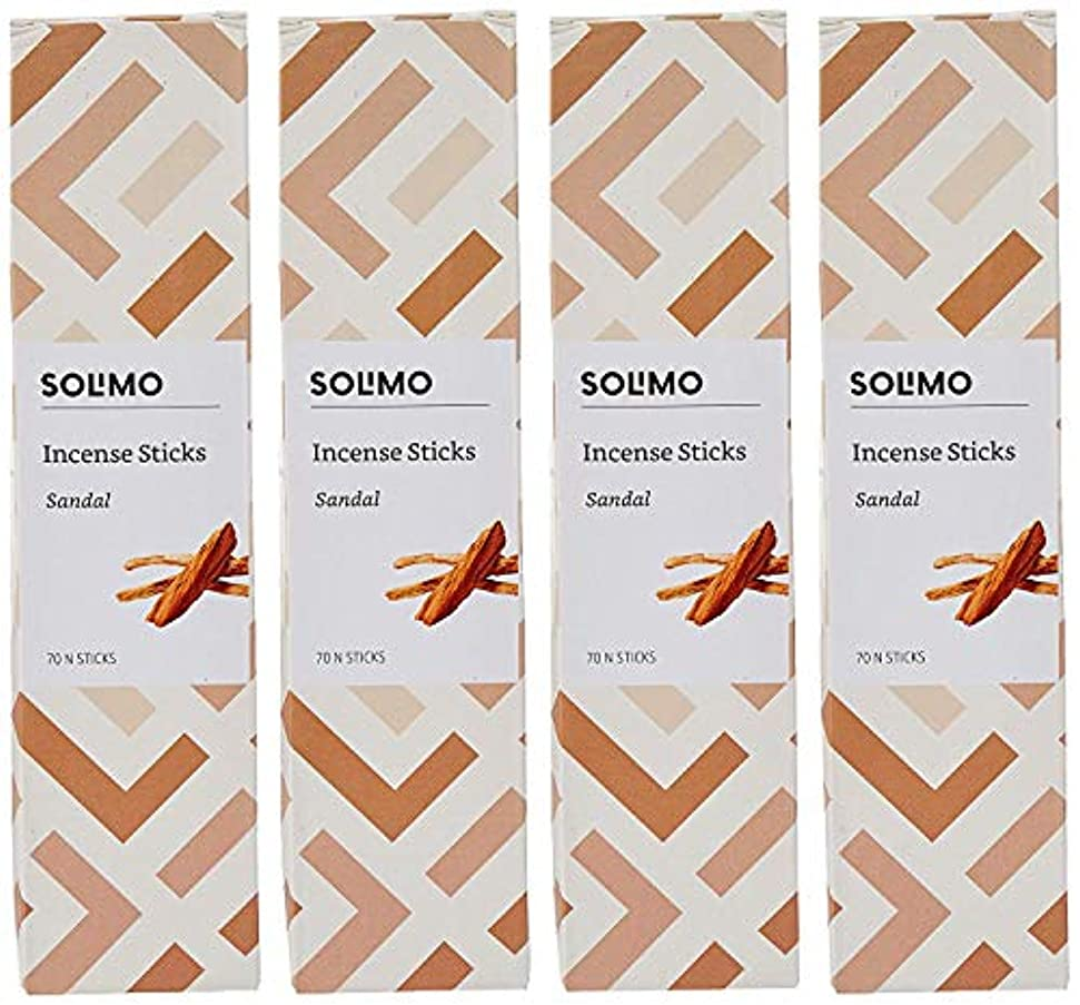 汗防衛使役Amazon Brand - Solimo Incense Sticks, Sandal - 70 sticks/pack (Pack of 4)