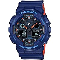 Casio G-Shock Analogue/Digital Blue/Orange Dual Layer Mens Watch GA-100L-2A