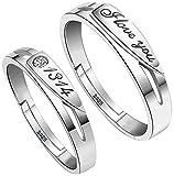 SOEKAVIA ペアリング カップル リング 婚約指輪 オープンリング フリーサイズ ダイヤモンド付き シルバー 2個セット ペアリング専用の綺麗なボックス( 1314)