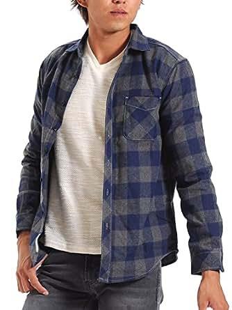 (スペイド) SPADE チェックシャツ メンズ シャツ 長袖 ネルシャツ チェック カジュアル 【w825】 (L, ネイビー×グレー)
