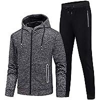 GEEK LIGHTING Men's Outdoor 2 Piece Jacket Pants Track Suit Sport Sweat Suit Set (B-Gray/Black, Medium)