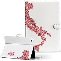 igcase d-01J dtab Compact Huawei ファーウェイ タブレット 手帳型 タブレットケース タブレットカバー カバー レザー ケース 手帳タイプ フリップ ダイアリー 二つ折り 直接貼り付けタイプ 009291 ハート 赤