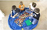 Norah Farm(ノラファーム)おもちゃ収納バッグ かんたんお片付け レゴ収納マット ブルー/ピンク (ブルー)