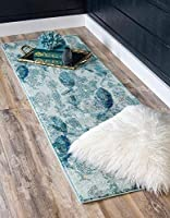 Unique Loom 3139798 Positano Collection Coastal Modern Fish Light Blue Runner Rug 3' x 10 [並行輸入品]
