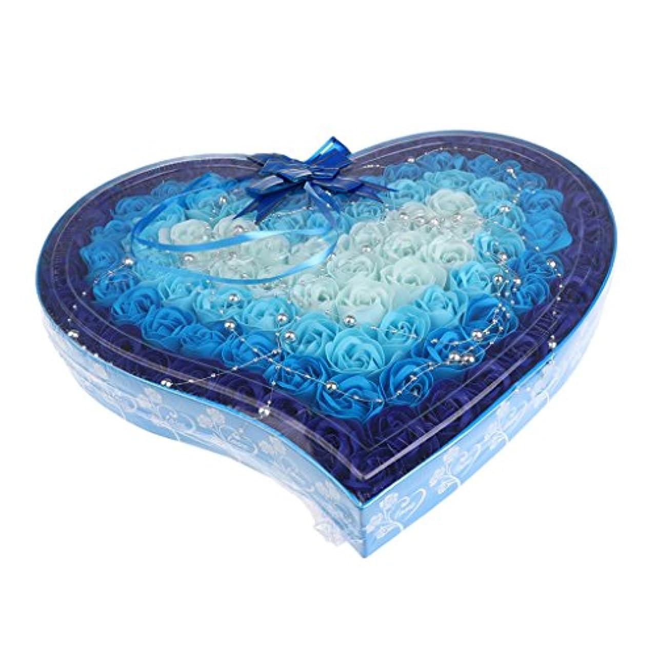 乱れカウント繊細Hellery 母の日のための100個の石鹸の花の心の形のギフトボックス - 青