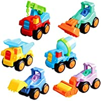 BUYITNOW Pull andプッシュIndustrial Truck Toy Set 6pcs Friction Powered Construction Vehicles for Kids Boys Girls