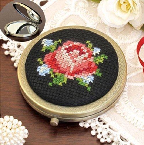 オリムパス 花刺しゅうの優しい小物 コンパクトミラー バラ 9040