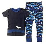 Kirkland Signature (カークランド) ボーイズ オーガニックコットン パジャマ 上下セット 半袖 (くじら) Boys' Organic Cotton Pajama Set (whale) (3T(100))