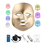 7色LED美顔マスク 家庭用LED美顔器 コラーゲンマシンマスク 光エステ 美白 ニキビ対策 日本語説明書付き コントローラ付き gold