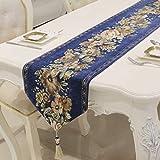 テーブルランナー/テーブルクロス/ロング装飾布/フリンジ付き/ディナー付き、結婚式、クリスマスパーティーデコレーション/刺繍入りフローラル/ディナーナプキン g (Color : Navy-, Size : 35×210cm)
