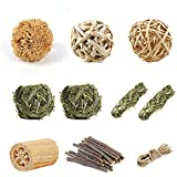 Lifebea Natural Small Animal Chew Toy Set - Pet Molar Bite Toy - Interactive Woven Grass Accessories for Bunny Rabbits Guinea