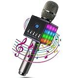 MODAR無線カラオケマイク ポータブルスピーカー Bluetooth 4.1 LEDライトマイク 1人でカラオケ 高音質 録音可能 3.5mm AUXケーブル TFカード搭載 PC/iPad / iPhone/スマートフォンに対応 日本語マニュアル付 二色選択可能(黒)