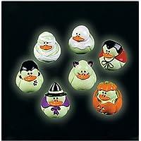 Two Dozen (24) Mini Glow-in-the-dark Halloween Rubber Ducks Duckie Ducky by Fun Express [並行輸入品]