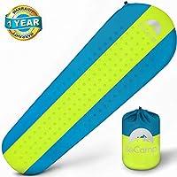 Self Inflating Sleeping Pad – Sleeping Pad – 軽量Sleepingパッド – マットキャンプハイキングバックパッキング用 – プレミアムの断熱SleepingマットレスOutdoors – 快適なパッド(ブルー/イエロー)