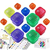 21 Day Portion Control Container and Food Plan Double Set (14-Pieces) - Portion Control Container Kit for Weight Loss - 21 Da