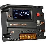 Anself20A 12V 24V LCDソーラー充電コントローラ ラソーラーパネル 自動調整スイッチ 過負荷保護 温度補償