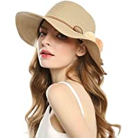 Welrog Foldable Straw Summer Hats for Women Wide Brimmed Hats with Balls for Travel
