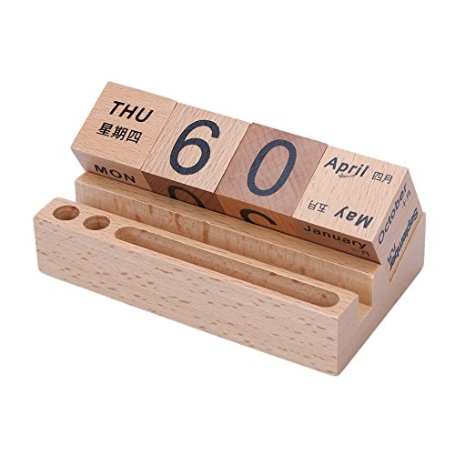 Demiawaking 卓上カレンダー デスクカレンダー キューブ 日替わり 木製 卓上 工芸品 アンティーク風 携帯ブラケット